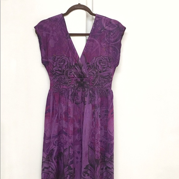 Wet Seal Dresses & Skirts - Wet Seal Purple Floral Stretchy Dress size XL